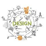Επίπεδη ζωηρόχρωμη έννοια σχεδίου για το γραφικό σχέδιο Ιδέα της παραγωγής Στοκ εικόνες με δικαίωμα ελεύθερης χρήσης