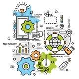 Επίπεδη ζωηρόχρωμη έννοια σχεδίου για το μάρκετινγκ Στοκ Εικόνα