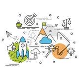 Επίπεδη ζωηρόχρωμη έννοια σχεδίου της αποστολής Ιδέα Infographic mak Στοκ φωτογραφία με δικαίωμα ελεύθερης χρήσης