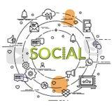 Επίπεδη ζωηρόχρωμη έννοια σχεδίου του κοινωνικού δικτύου Στοκ φωτογραφίες με δικαίωμα ελεύθερης χρήσης