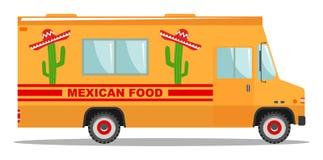 Επίπεδη ζωηρόχρωμη απεικόνιση κινούμενων σχεδίων σχεδίου διανυσματική του φορτηγού τροφίμων Παραδοσιακή μεξικάνικη κουζίνα οδών Α Στοκ εικόνες με δικαίωμα ελεύθερης χρήσης