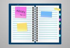 Επίπεδη θέση μορίων φύλλων σημειωματάριων και εγγράφου σχεδίου για το κείμενο κολλώδης ζωηρόχρωμη ταινία στο γκρίζο υπόβαθρο ελεύθερη απεικόνιση δικαιώματος