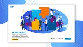 Επίπεδη προσγειωμένος σελίδα εργασίας ομάδας επιγραφής εμβλημάτων ελεύθερη απεικόνιση δικαιώματος