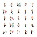 Επίπεδη συλλογή εικονιδίων επιχειρησιακών χαρακτήρων ελεύθερη απεικόνιση δικαιώματος