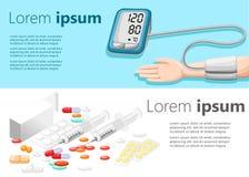 Επίπεδη σύγχρονη απεικόνιση σχεδίου για τη σελίδα ιστοχώρου ιατρικών συσκευών ταμπλετών έννοιας υγείας και ιατρικής φροντίδας και Στοκ φωτογραφίες με δικαίωμα ελεύθερης χρήσης