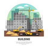 Επίπεδη σύνθεση μηχανημάτων οικοδόμησης κτηρίου απεικόνιση αποθεμάτων