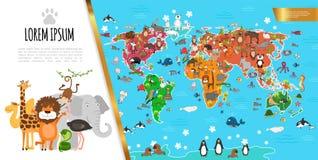Επίπεδη σύνθεση παγκόσμιων χαρτών πανίδας ελεύθερη απεικόνιση δικαιώματος