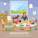Επίπεδη σύνθεση παιδικών σταθμών ελεύθερη απεικόνιση δικαιώματος