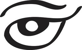 Επίπεδη τέχνη γραμμών εικονιδίων γυναικείων ματιών Διανυσματική απεικόνιση για το σχέδιο των καταλόγων ομορφιάς, επαγγελματικές κ ελεύθερη απεικόνιση δικαιώματος