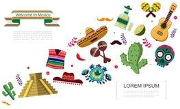 Επίπεδη υποδοχή στην έννοια του Μεξικού ελεύθερη απεικόνιση δικαιώματος