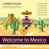 Επίπεδη υποδοχή στην αφίσα του Μεξικού ελεύθερη απεικόνιση δικαιώματος