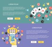 Επίπεδη χαρτοπαικτική λέσχη απεικόνισης σχεδίου on-line Έμβλημα Ιστού εννοιών Στοκ Φωτογραφία