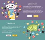 Επίπεδη χαρτοπαικτική λέσχη απεικόνισης σχεδίου on-line Έμβλημα Ιστού εννοιών Στοκ Εικόνες