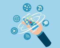 Επίπεδη χεριών εκμετάλλευσης έννοια μέσων Smartphone ψηφιακή στοκ φωτογραφία