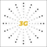 Επίπεδη 3g διανυσματική αυτοκόλλητη ετικέττα με το αφηρημένο σχέδιο Απεικόνιση αποθεμάτων