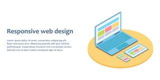Επίπεδη isometric απεικόνιση των συσκευών με τη διαφορετική άποψη ένα ιστοσελίδας στοκ εικόνες