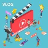 Επίπεδη isometric διανυσματική έννοια του βίντεο blog Στοκ εικόνα με δικαίωμα ελεύθερης χρήσης