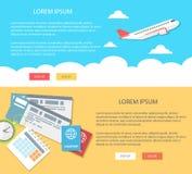 Επίπεδοι διακοπές και τουρισμός απεικόνισης σχεδίου Έμβλημα Ιστού εννοιών Στοκ εικόνες με δικαίωμα ελεύθερης χρήσης