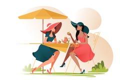 Επίπεδοι φίλοι νέων κοριτσιών στον καφέ να συναντήσει υπαίθρια διανυσματική απεικόνιση