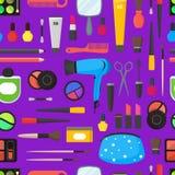 Επίπεδος αποτελέστε τα καλλυντικά εργαλείων, Mascara και το άνευ ραφής σχεδίων βουρτσών υπόβαθρο διάνυσμα Στοκ Εικόνες