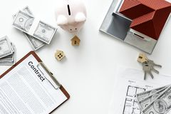 Επίπεδος βάλτε της έννοιας μετρητών εξαρτημάτων ακίνητων περιουσιών Στοκ εικόνα με δικαίωμα ελεύθερης χρήσης