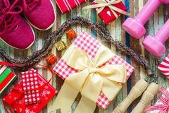 Επίπεδος βάλτε της Χαρούμενα Χριστούγεννας και καλής χρονιάς και οποιωνδήποτε holidy δημόσιων σχέσεων Στοκ Εικόνες