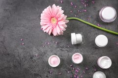 Επίπεδος βάλτε τη σύνθεση με τα καλλυντικά και το λουλούδι προσοχής σωμάτων Στοκ εικόνες με δικαίωμα ελεύθερης χρήσης