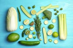 Επίπεδος βάλτε τη σύνθεση με τα πράσινα λαχανικά Στοκ φωτογραφία με δικαίωμα ελεύθερης χρήσης
