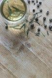 Επίπεδος βάλτε του φλυτζανιού και το πράσινο τσάι με βγάζει φύλλα, κυλά στο ξύλο πίσω στοκ φωτογραφίες με δικαίωμα ελεύθερης χρήσης
