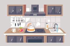 Επίπεδος εξοπλισμός κουζινών με το μαχαίρι, κουκούλα εξάτμισης, φούρνος, πλυντήριο, teapot ελεύθερη απεικόνιση δικαιώματος
