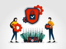 επίπεδος χαρακτήρας Οι επιχειρήσεις φορέων παροχής υπηρεσιών ασφάλειας παρέχουν το αξιωματικό ασφαλείας που εκπαιδεύει να βελτιώσ διανυσματική απεικόνιση
