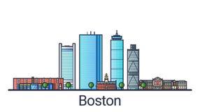Επίπεδο έμβλημα της Βοστώνης γραμμών διανυσματική απεικόνιση