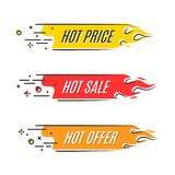 Επίπεδο γραμμικό έμβλημα πυρκαγιάς προώθησης, τιμή, καυτή πώληση, προσφορά, π απεικόνιση αποθεμάτων