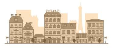 Επίπεδο γραμμικό πανόραμα του τοπίου πόλεων με τα κτήρια και τα σπίτια τουρισμός, ταξίδι στη διανυσματική απεικόνιση του Παρισιού ελεύθερη απεικόνιση δικαιώματος