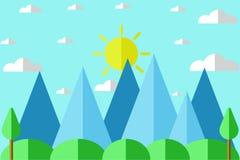 Επίπεδο διάνυσμα υποβάθρου βουνών και ήλιων τοπίων διανυσματική απεικόνιση