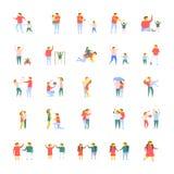 Επίπεδο διανυσματικό πακέτο εικονιδίων ανθρώπων διανυσματική απεικόνιση