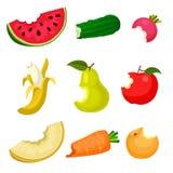 Επίπεδο διανυσματικό σύνολο δαγκωμένων φρούτων και λαχανικών Φυσικά και νόστιμα τρόφιμα υγιής διατροφή Σχέδιο για την αφίσα, έμβλ ελεύθερη απεικόνιση δικαιώματος