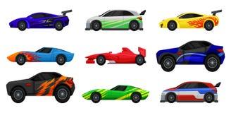 Επίπεδο διανυσματικό σύνολο διάφορων αγωνιστικών αυτοκινήτων Γρήγορα αθλητικά αυτοκίνητα Πλάγια όψη Στοιχεία για τη διαφήμιση της ελεύθερη απεικόνιση δικαιώματος