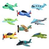 Επίπεδο διανυσματικό σύνολο διαφορετικών αεροσκαφών Στρατιωτικά αεροπλάνα αεριωθούμενων αεροπλάνων, αεροπλάνο επιβατών και biplan απεικόνιση αποθεμάτων