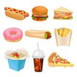 Επίπεδο διανυσματικό σύνολο εικονιδίων γρήγορου γεύματος Εύγευστο πρόχειρο φαγητό για το μεσημεριανό γεύμα Ανθυγειινή διατροφή διανυσματική απεικόνιση