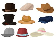 Επίπεδο διανυσματικό σύνολο καπέλων ανδρών και γυναικών Μοντέρνα αρσενικό και θηλυκό headwear Καπέλο του μπέιζμπολ και κομψός Παν ελεύθερη απεικόνιση δικαιώματος