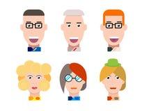Επίπεδο διανυσματικό σύνολο πορτρέτου χαρακτήρων Διανυσματικά είδωλα χαμογελώντας ευτυχείς άνθρωποι Ευτυχείς συγκινήσεις Διανυσμα Στοκ φωτογραφία με δικαίωμα ελεύθερης χρήσης
