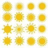 Επίπεδο εικονίδιο ήλιων Εικονόγραμμα ήλιων Καθιερώνον τη μόδα διανυσματικό θερινό σύμβολο διανυσματική απεικόνιση