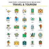 Επίπεδο εικονίδιο γραμμών ταξιδιού και τουρισμού καθορισμένο - εικονίδια Δ επιχειρησιακής έννοιας διανυσματική απεικόνιση