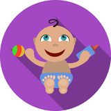 Επίπεδο εικονίδιο μωρών Στοκ Εικόνα