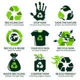 Επίπεδο εικονίδιο που τίθεται για τη φιλική ανακύκλωση eco ελεύθερη απεικόνιση δικαιώματος