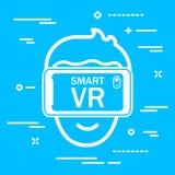 επίπεδο εικονίδιο του κεφαλιού ατόμων στα γυαλιά εικονικής πραγματικότητας σε ένα μπλε backg διανυσματική απεικόνιση