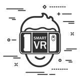 επίπεδο εικονίδιο του κεφαλιού ατόμων στα γυαλιά εικονικής πραγματικότητας σε μια άσπρη πλάτη ελεύθερη απεικόνιση δικαιώματος