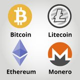 Επίπεδο λογότυπο colorfull Cryptocurrency καθορισμένο - bitcoin, litecoin, ethereum, monero επίσης corel σύρετε το διάνυσμα απεικ Στοκ Εικόνες