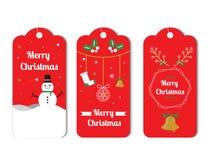 Επίπεδο πακέτο ετικετών Χριστουγέννων στο κόκκινο ύφος διανυσματική απεικόνιση